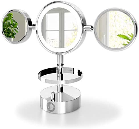 Belvadora Magnifying Vanity Makeup Mirror with Lights Bright Lighted Makeup Mirror Large 7 5 Inch LED 1x 2X 3X 5X 7X 10x Magnified Table Cosmetic Mirror Adjustable Ring White Lights