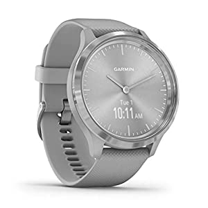 Garmin vivomove 3 Hybrid Smartwatch with Real Watch Hands and Hidden Touchscreen Display, Powder Grey Silicone with…