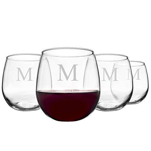 Cathy's Concepts Personalized 16.75 oz. Stemless Red Wine Glasses, Set of 4, Letter M