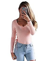 2829e9d33ee2 Moxeay Women Sexy Long Sleeve Cotton Round Neck Bandage Jumpsuit