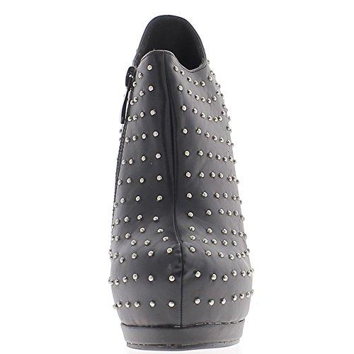 Niedrige Heel schwarze Stiefel Nadel Plattform besetzt und 13,5 cm