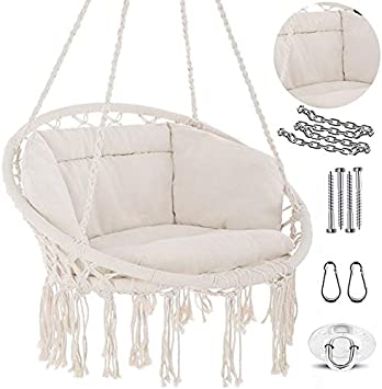 Amazon Com Nooksta Hammock Chair Ultimate Comfort Hanging Chairs For Bedrooms Set Hanging Chair Deluxe Cushion For Macrame Swinging Chairs Hanging Kit Boho Decor Perfect For Outdoor Chair Or Bedroom Swing Furniture