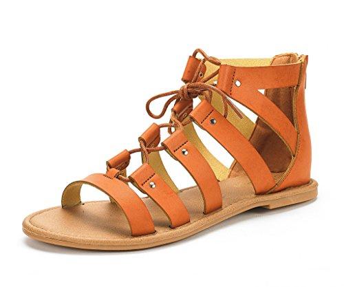 DREAM PAIRS Women's Arizona Tan Pu Ankle Strap Gladiator Flat Sandals - 5.5 M US