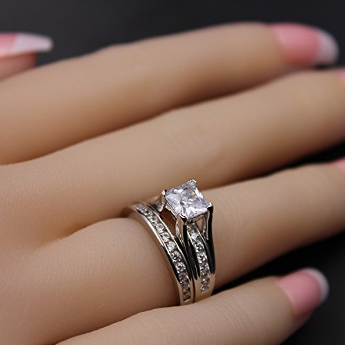 MABELLA Wedding Ring Sets Couples Rings Women's Sterling Silver Princess CZ Men's Stainless Steel Bands by MABELLA (Image #4)