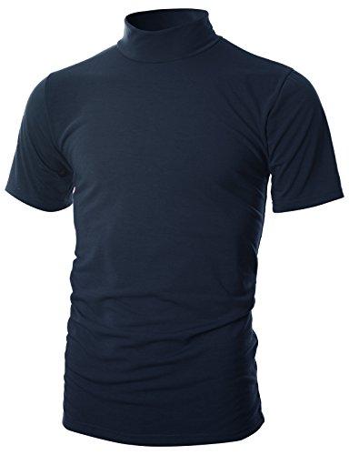 (Ohoo Mens Slim Fit Soft Cotton Short Sleeve Pullover Lightweight Mockneck with Warm Inside /DCT101-NAVY-2XL)