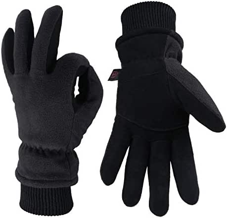 OZERO Winter Gloves Thermal Snow Work Ski Glove - Deerskin Suede Leather Palm and Polar Fleece Back with Insulated Cotton - Windproof Water-Resistant Warm Hands in Cold Weather for Women and Men