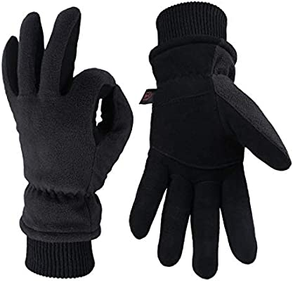 OZERO Winter Gloves -30 ℉ Cold Proof Thermal Ski Glove - Deerskin Suede Leather and Warm Polar Fleece with Insulated Cotton - Windproof Water-Resistant Hands Warm in Cold Weather for Women and Men