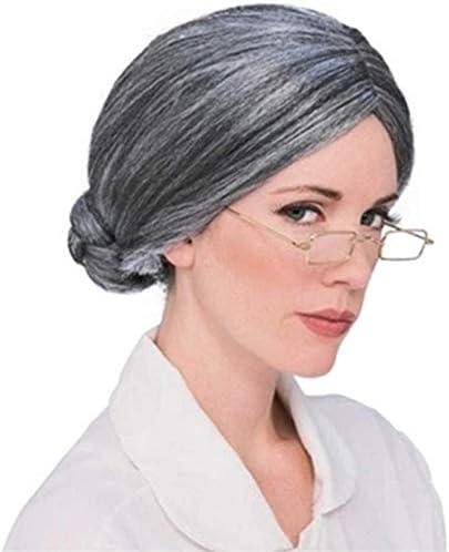 FFWIGS Antiguo Dama Gris Pelo Pelucas por Antiguo Mujer Abuela ...