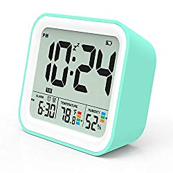 KUCOOLE Digital Battery Operated Alarm Clock, Best Travel Alarm Clock with 4.2-inch Compact Size, Indoor Thermometer and Hygrometer, Dual Smart Alarm Clock for Kids, Teens, Bedroom, Kitchen - Cyan