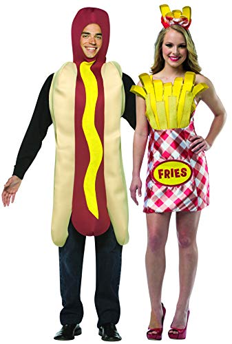 Rasta Imposta Hot Dog & French Fry Dress Couples Costume Set red