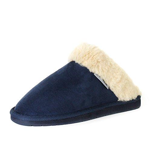 Stellaire Dames Originele Pelsnit Winter Warm Binnen Comfy Slip Op Mule Klomp Slippers Marine