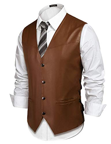 (COOFANDY Mens Vintage Leather Motorcycle Biker Vest Single-Breasted Casual Jacket Vests, Coffee, Small)