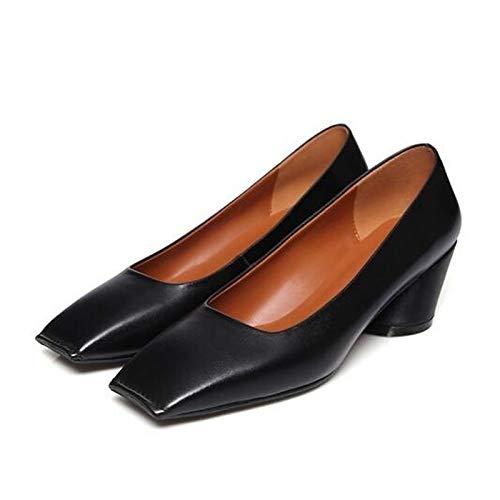 Noir ZHZNVX Chaussures Femme Nappa Cuir Printemps Confortables Talons Talon Chunky Noir Marron Ahommede 36.5 EU