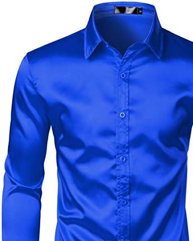 U/A Camisa de vestir de satén negro para hombre, de seda, lisa, para hombre, ajustada, para boda, fiesta, baile de graduación, informal: Amazon.es: Ropa y accesorios