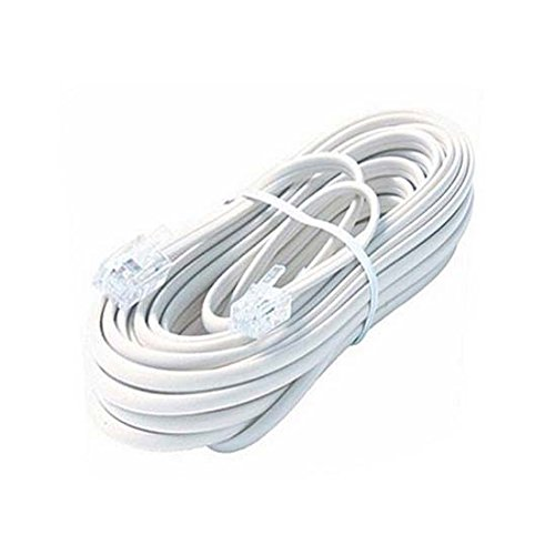 Modular Phone Adaptor - 100' FT Phone Cord Cable Line Modular White RJ11 RJ-11 6P4C Jack Plug Standard Flat Wire 4 Conductor Data Audio Signal Transfer Telephone Extension Hook-Up with Snap-In Connector Jacks