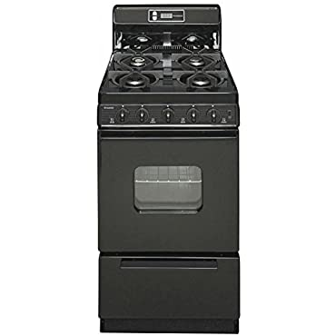 Premier SHK220BP ADA Compliant Black 20 Sealed Gas Range with 2.4 Cu. Ft. Capacity Four Sealed 9 100 BTU Burners 8 Porcelain Backguard with Electronic Clock and Windowed Oven Door with Interior Oven Light