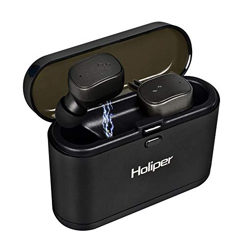 Holiper Bluetooth 5.0 Headphones with Charging Case Long Battery Life Wireless Earbuds with Microphone HD Stereo Sound and Deep Bass for Cell Phone Laptop MP3 MP4 Player, Black