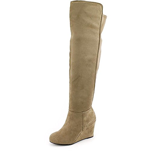 Chinese Laundry Womens Unglaubliche Microsuede Kniehohe Stiefel mit Keilabsatz Taupe