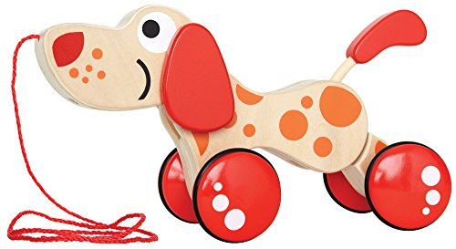Walk-A-Long Puppy Wooden Pull Toy by Hape | Award Winning Push Pull Toy Puppy For Toddlers Can Sit, Stand and Roll. Rubber Rimmed Wheels for Easy Push and Pull Action, Red