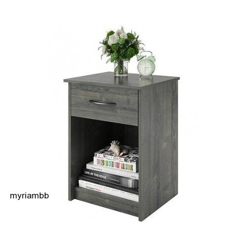 Set of 2 Nightstand MDF End Tables Pair Bedroom Table Furniture Multiple Colors (Gray) - bedroomdesign.us