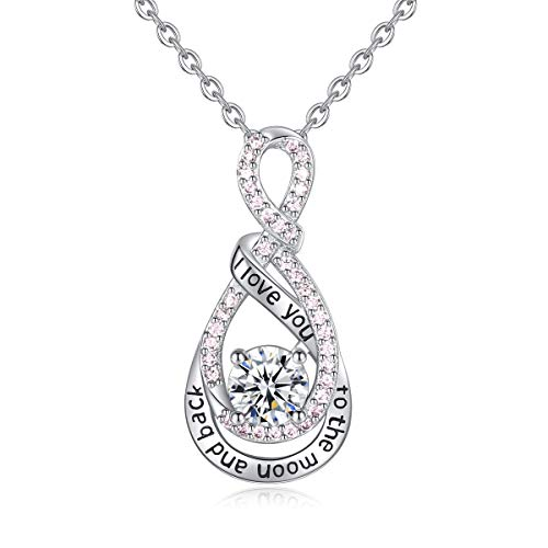Heart Sterling Silver Necklace for Women CELESTIA CZ Heart Pendant I Love You to The Moon and Back Necklaces, Birthday Christmas Gifts for Girlfriend Wife - 18