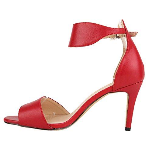Knöchelriemen Frauen HooH Schnalle Einfache Sandalen Rot Kleid ZTqHSw