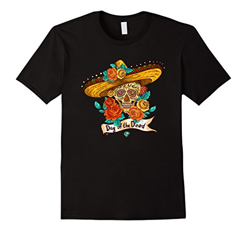 Mens Day of the Dead-dia de los muertos T-shirt and costume Medium Black