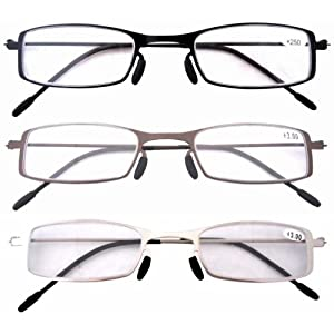 Eyekepper 3 Pcs Mix Unique Lightweight Stainless Steel Frame Cheap Reading Glasses For Men and Women +2.0