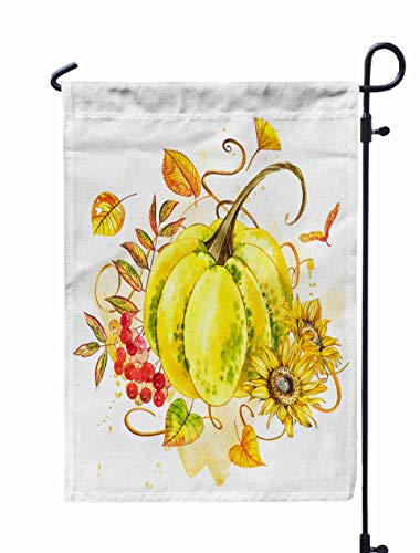 HerysTa Spring Garden Flag, Decorative Yard Farmhouse Holiday Banner 12 x 18 inches Pumpkins Watercolor Painting White Background Splash Autumn Vegetables Double-Sided Seasonal Garden Flags]()