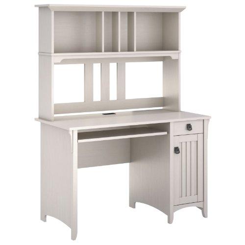 Bush Furniture Salinas Mission Desk and Hutch, Antique White Finish (Desks And Hutch)