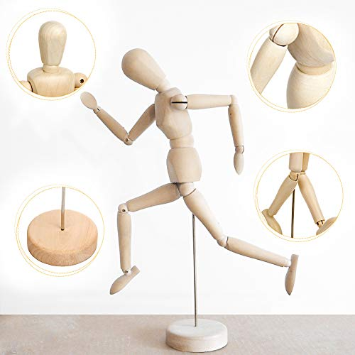 Drawing Manikin Wooden Mannequin Wood Artist Figure Doll Model with Flexible Posable Joints for Sketching Charcoal Home Office Desk Decoration Children Toys Gift 12''Male