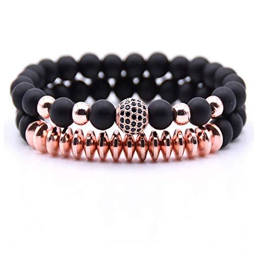 Joya Gift Beads Bracelet Set for Women Men with Black Stone CZ Charm Handmade Jewelry (Rose Gold)