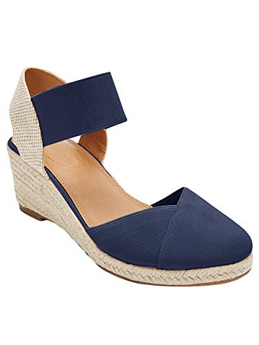 (Nailyhome Womens Espadrilles Platform Wedge Sandals Closed Toe Elastic Closure Mid Heel Sandals)