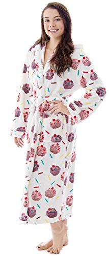 Burklett Fleece Robe for Women Winter Hooded Terry Cloth Bathrobe,Cupcakes Printed Robe (Terry Fun)