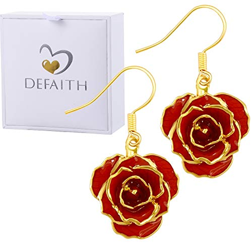 (DEFAITH Birthday Jewelry 24K Gold Dipped Rose Earrings Red - Made of Fresh Rose, Last Forever - Unique Anniversary Gifts for Her Women Wife Girlfriend)