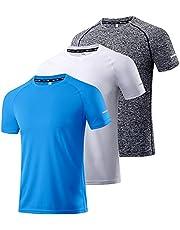Boyzn Men's 3 Pack Workout Shirts Quick Dry Moisture Wicking Short Sleeve Mesh Athletic T-Shirts
