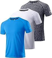 Boyzn Men's 3 Pack Workout Shirts Quick Dry Moisture Wicking Short Sleeve Mesh Athletic T-Sh