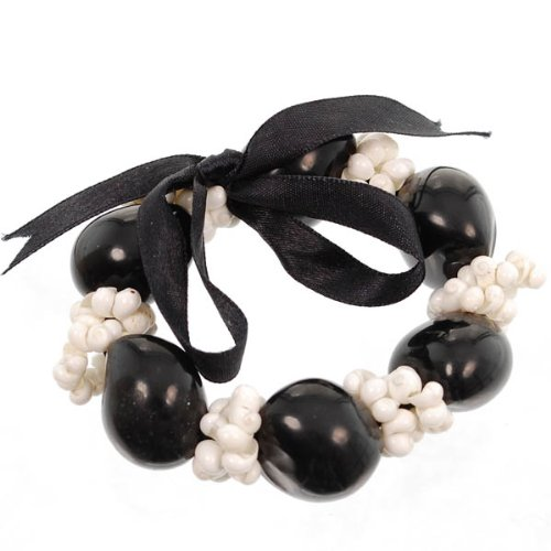 Shell Stretchable Bracelet (Hawaiian Lei Bracelet of Kukui Nuts and White Mongo Shells)