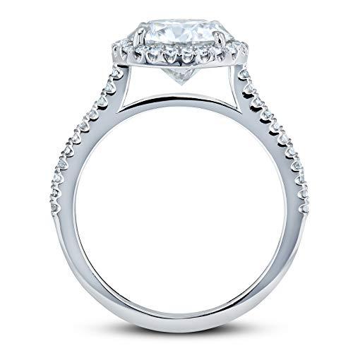 Round Brilliant Forever One Moissanite and Diamond Halo Engagement Ring 2 1/6 CTW 14k White Gold (DEF/VS, GH/I), 5.5 by Kobelli (Image #2)
