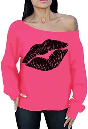 f361e733dde04a Awkwardstyles Lips Off The Shoulder Oversized Slouchy Sweatshirt Black