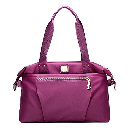 GWQGZ Bolso De Dama Moda Nueva Tendencia Todos Coincide Con Nylon Impermeable De Gran Volumen Único Bolso Azul Violet