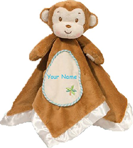 (Personalized Gentle Little Monkey Snuggler Baby Snuggle Blanket Gift - 13 Inches)