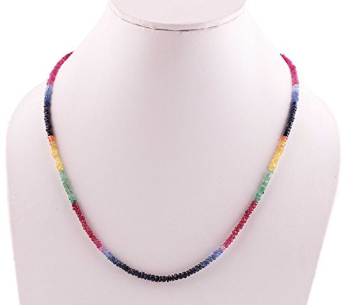 Neerupam Collection 40 Carat Multi colour Emerald, Yellow Sapphire, Blue Sapphire, Ruby Rondelle Shape beads Necklace for Women