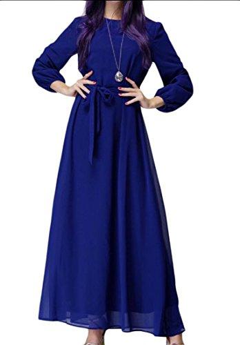 Abaya Maniche Solido Di Tunica Musulmano Comodi Modo Lunghe Islamico Blu A Donne tXxqvUpwx