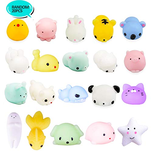 (LEEHUR 20Pcs Kawaii Mochi Squishy Party Favors Soft Mini Squishies Pack Squeezes Stress Anxiety Relief Toys for Kids Adults)