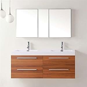 Virtu USA Finley 54 inch Double Sink Bathroom Vanity Set ...