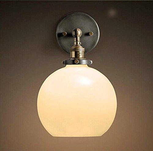 YanCui@ Wandhalterung Wandleuchten für das Schlafzimmer/Arbeitszimmer/Foyer Dekorative Wandleuchte Eisen-Retro-Glas-Kugel-Lampe , milk white