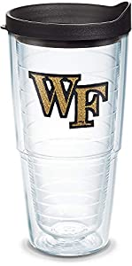 Tervis 1067856 Wake Forest Demon Deacons Logo Tumbler with Emblem and Black Lid 24oz, Clear