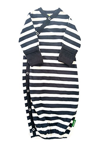 Organic Printed (Parade Organics Organic Baby Printed Kimono Gowns Narrow Black Stripes Newborn up to 3 Months)
