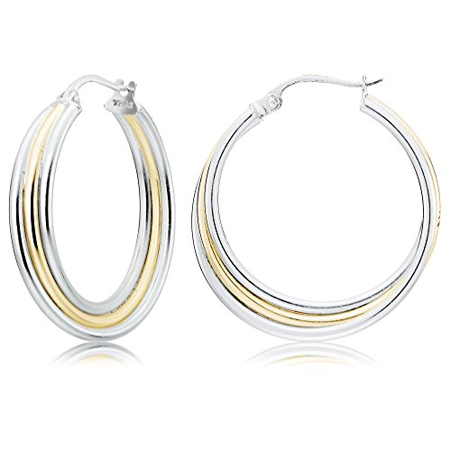 Sterling Silver Two-Tone Triple Row Twisted Round Hoop Earrings
